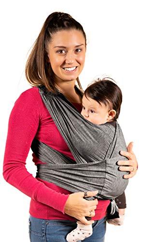 Neu 2020 - KALPAS - Baby-Tragetuch - Einfach zu tragen, Einheitsgröße | Multifunktionelles Baby Tragesystem | Babytrage für Neugeborene ab Geburt - Hellgrau