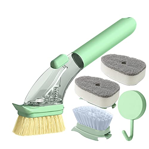 Soap Dispensing Dish Brush,Effective Soap Control and No Leak Easy On Hands Kitchen Scrub Brush,Long Lasting and Reusable for Pot Pan Cast Iron Skillet Dishes Sink Cleaning