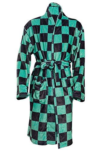 SETHOUS Demon Slayer Tanjirou Robe Capa Tanjirou Kimono Coral Fleece Albornoz Pijamas Ropa de dormir