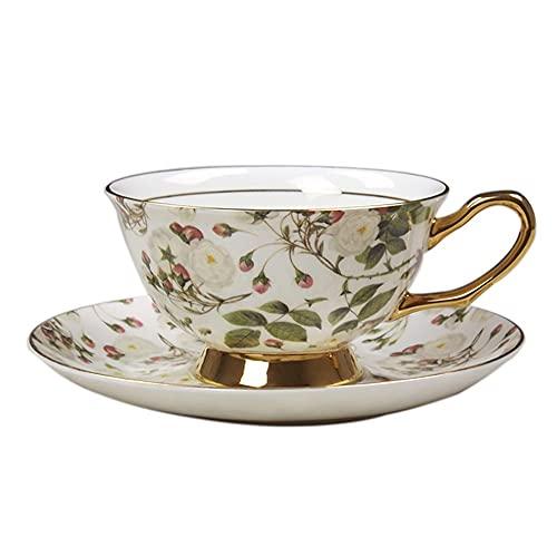 SXXYTCWL Hueso China Taza de café y platillo con Conjunto de Cuchara Accesorios de la máquina de café Ears Colgantes de Taza de café instantáneo Taza de té Negro Taza de té