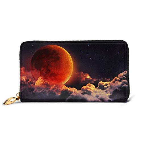 JHGFG Bolso de Moda Cremallera Cartera Luna Eclipse Planeta Rojo Sangre Nubes Teléfono Embrague Monedero Embrague de Noche Bloqueo Monedero de Cuero Organizador de múltiples Tarjetas