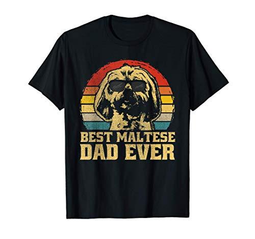 Best Malteser Hund Welpe Retro Papa Vater Dad Ever Geschenk T-Shirt