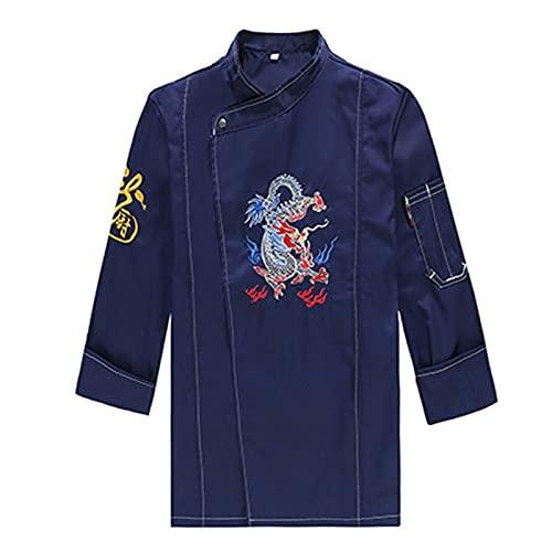 GAOSHENGWUJINGD Chef Coat Men Women Long-Sleeved Men Chef Service Hotel Working Wear Restaurant Double-Breasted Women Chef Uniform Cook Jacket (Color : Blue, Size : D(2XL))