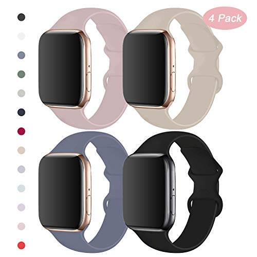 RUOQINI 4 Pack Compatible with Apple Watch Band 38mm 40mm,Sport Silicone Soft Replacement Band Compatible for Apple Watch Series 5/4/3/2/1 [S/M Size -PinkSand/Stone/Lavender Gray/Black]