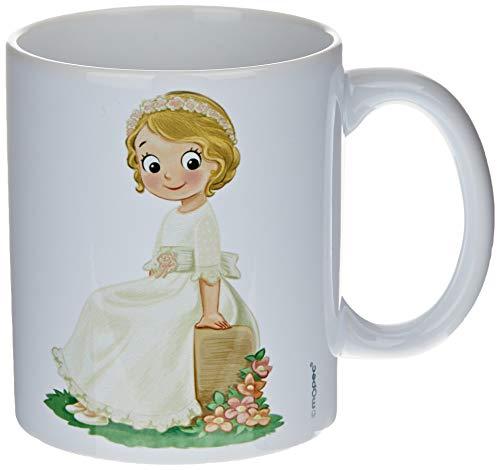 Mopec G892.1 Taza cerámica niña Comunión sentada en Banco, 325 milliliters, Porcelana