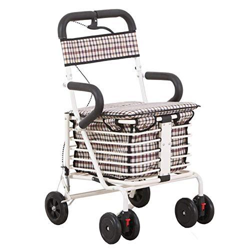 SXRNN gehwagen rollator aus Aluminium mit Vier Rädern Home Helper Trolley Einkaufswagen Mit gepolsterten Sitzkörben und Bremsenlager