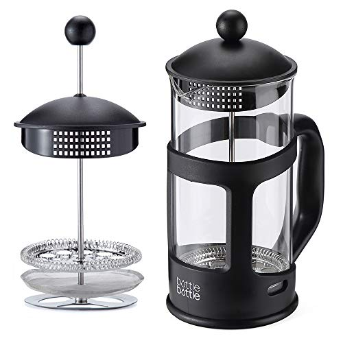 French Press Coffee and Tea Maker,34oz Large Comfortable Handle & Glass Protecting Durable Black Shell With Reusable Stainless Steel Filter and Heat Resistant Borosilicate Glass