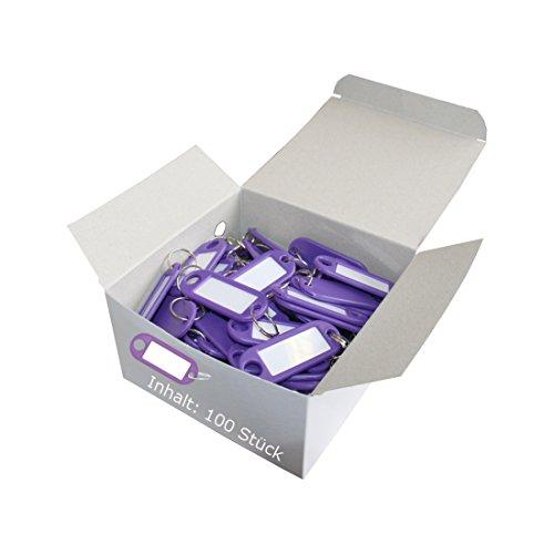 Wedo 262801808 Schlüsselanhänger Kunststoff (mit Ring, auswechselbare Etiketten) 100 Stück, violett