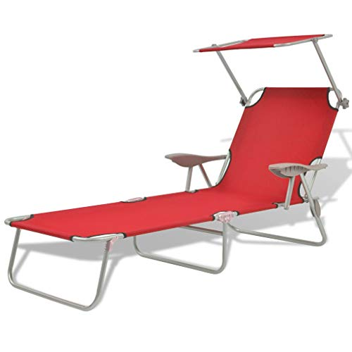 vidaXL Sun Lounger with Canopy,Outdoor Folding Adjustable Reclining Chairs Pool Side Using Lawn Lounge Chair, Folding Recliner for Deck,Patio,Beach,Yard,Steel Red,22.8' x 74.4' x 10.6'