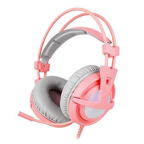 DZSF Jeu Casque Stéréo Filaire USB 7.1Gaming Casque sur L'oreille avec Mic Commande Vocale pour Ordinateur Portable Jeu,C