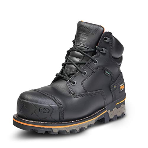 Timberland PRO Men's Boondock 6 Inch Composite Safety Toe Waterproof Industrial Work Boot, Black Full Grain Leather, 7.5 Wide