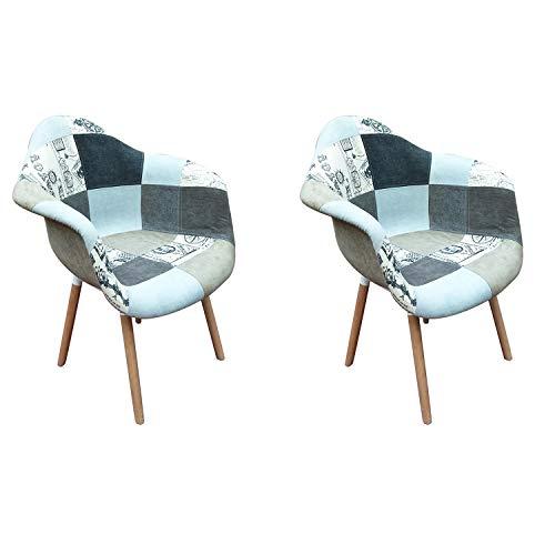 WV LeisureMaster Moderne Esszimmerstühle aus Stoff mit Armlehne, Patchwork-Sessel, Nordischer Stuhl für Wohnzimmer, Esszimmer, Schlafzimmer, Büro, Café, etc., 2er-Set (grau)