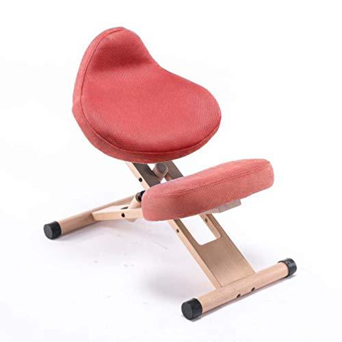 Silla ergonómica de rodillas Taburete ajustable de rodillas con postura en ángulo y almohadilla de rodillas perfecta para aliviar el dolor de espalda y cuello y mejorar la postura,Rojo