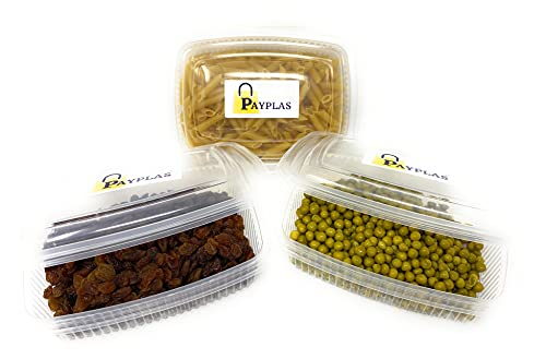 Pack de 50 Envases Desechables para alimentos con tapa Tipo Bisagras 1.500 CC. Tuppers de Plástico Polipropileno Aptos para microondas, Tarrinas de comida para llevar Tipo Fiambrera de Usar y Tirar.