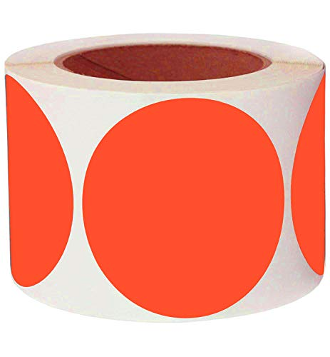 """Pop Resin 3"""" Round Fluorescent Red Orange Color Coding Dot Labels 