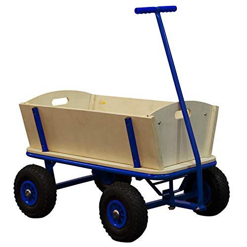 SUNNY Billy Chariot de Transport en Bois | Chariot pour Enfants Bleu | Capacité 100 Kilos
