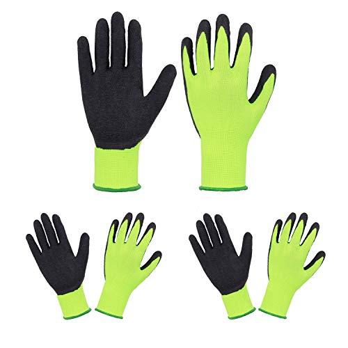 Euglove Kinder Gartenhandschuhe für Alter 2-13, 3 Paar Schaumgummibeschichtete Palmen Gartenhandschuhe für Jungen Mädchen, Kinder Garten Gripper Handschuhe (Größe 5(9-10 Jahre), Gelb/Schwarz)