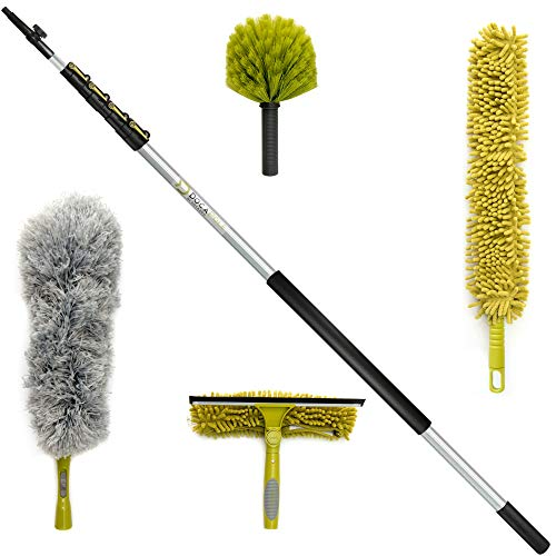 DocaPole Cleaning Kit with 30 Foot Extension Pole // Includes 3 Dusting Attachments + 1 Window Squeegee & Washer // Cobweb Duster // Microfiber Feather Duster/Ceiling Fan Duster & Cleaner