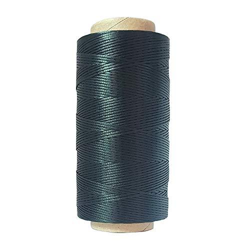 Hilo encerado plano de 150D de 0,8 mm, 260 m, negro, marrón, rojo, rosa, para coser cuero, hecho a mano, cordón encerada (negro)