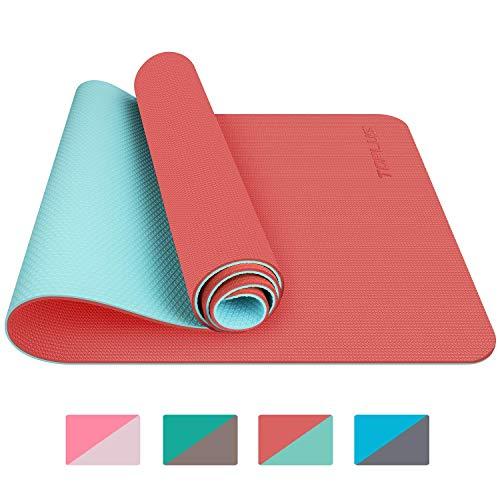 TOPLUS Tappetino da Yoga, Tappetino da Yoga Imbottito e Antiscivolo Fitness Pilates e Ginnastica con Cinturino di TPE,180 x 60 cm (Orange)