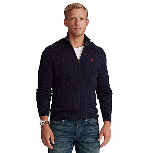 Polo Ralph Lauren Pull en Coton Cable-Knit Half Zip (S, Hunter Navy)