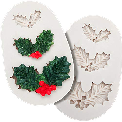 2 Pieces Holly Leaf Mold, Christmas Holly Silicone Mold, Cake Fondant Mold, Polymer Clay Mould for Cake Cupcake Decorating, Chocolate Craft, Gum Paste Making