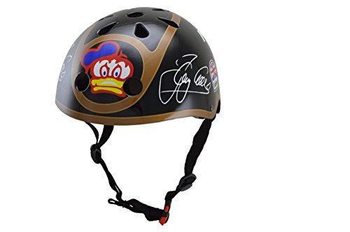 KIDDIMOTO Kinder KMH015M Fahrrad Helm Barry Sheene, Gr. M 5-14 Jahre, schwarz Gold
