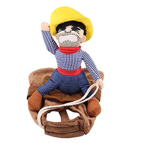 NIBESSER Hund Kostüm Lustige Cowboy Reiter Kleidung Hunde Outfit Ritter Stil Kleidung mit Puppe und Hut für Halloween Cosplay Party