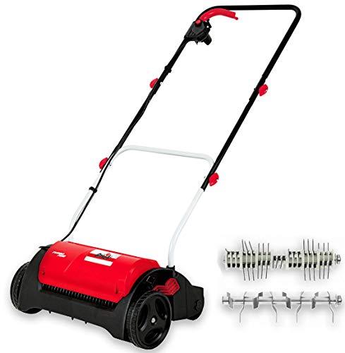 Elektro Vertikutierer - Elektrischer Rasen Vertikutierer und Belüfter mit 14-facher Tiefennachstellung - Sicherheitsschalter - Klappholm - leicht austauschbare Vertikutierer + Lüfterwalze