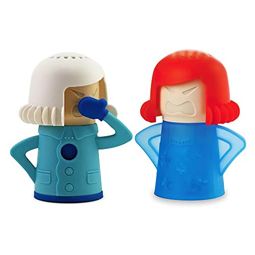 Angry Mama Steaming Mama Cleaning Microwave Oven Mom and Chilly Mama Fridge and Freezer Odor Absorber Cleaning Equipment Tool High Temperature Steam Clean 2psc (Mikrowave and Fridge)