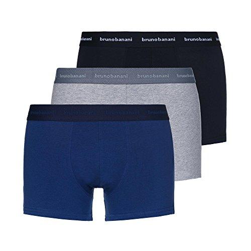 bruno banani Herren Retro Boxershorts Lusty (3er Pack) Blau / Grau Melange / Schwarz XL