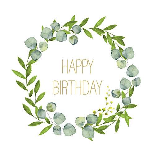 20 Servietten Happy Birthday im Kranz | Geburtstag | Tischdeko 33x33cm