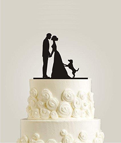 Braut und Bräutigam küssen Hochzeit Silhouette Paar Hochzeit Tortenaufsatz mit Hund für...