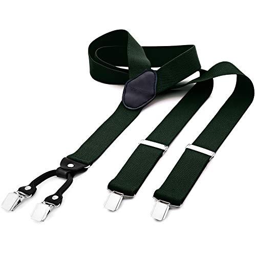 DonDon tirantes anchos 3,5 cm para hombres con 4x clips con cuero en forma de Y - elástico y longitud ajustable - verde