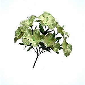 Artificial 1 Stem with 5 Hibiscus Sage Green Centerpieces Silk Flowers Bridal Bouquet Home Bouquet Realistic Flower Arrangements Craft Art Decor Plant for Party Home Wedding Decoration