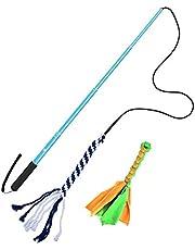 POHOVE Palo para perro con palo extensible para entrenamiento de mascotas, juguete interactivo con 2 cuerdas para masticar