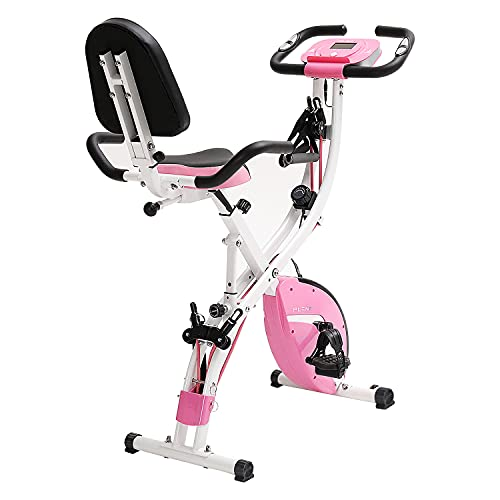 PLENY Folding Fitness Exercise Bike Workout, Slim Cycle Stationary Bike for Home, 3-in-1 Foldable Exercise Bikes for Adults (Pink)