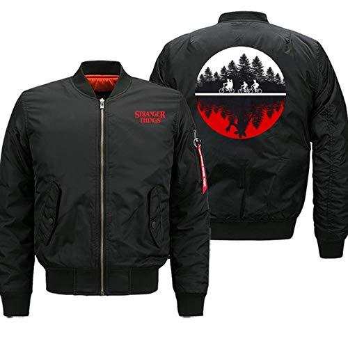 FHKGCD Winter Stranger Things Chaquetas Hombres Bomber Streetwear Chaqueta Abrigo Cremallera Gruesa Motocicleta Ropa De Abrigo, Negro, 6XL