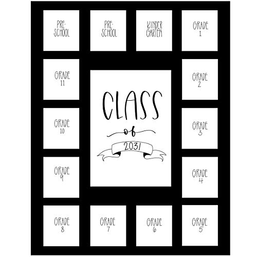 Rustic Red Door Co. School Years Picture Mat with 15 Openings – 11x14 School Days Photo Collage - No Frame – 2 Pre-School & Kindergarten to 12th Grade High School Graduation (Class of 2031, Black)