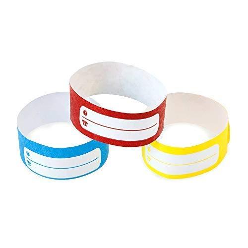 Colore Rosso Set di 100 braccialetti identificativi in carta tyvek con zona di scrittura per bambini e anziani Fun Fan Line Chiusura adesiva resistente non trasferibile e impermeabile.