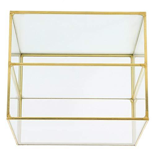 Okuyonic Soporte De Almacenamiento De Vidrio Dorado, Caja De Recuerdo De Vidrio Dorado De Diseño De 2 Compartimentos para Teléfonos Móviles para Cosméticos