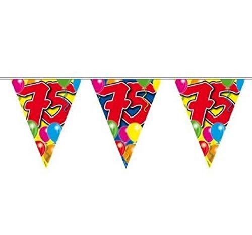 1 Wimpelkette L: 10 m , Folie 75.Geburtstag Girlande