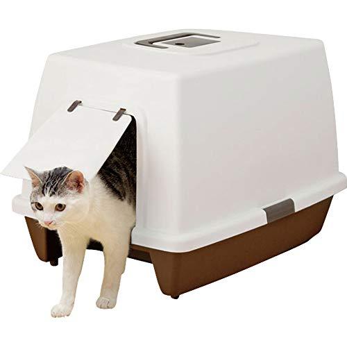 アイリスオーヤマ 猫用トイレ本体 砂落としマット付脱臭ネコトイレ (抗菌 フルカバー スコップ付き) ブラウン 大型