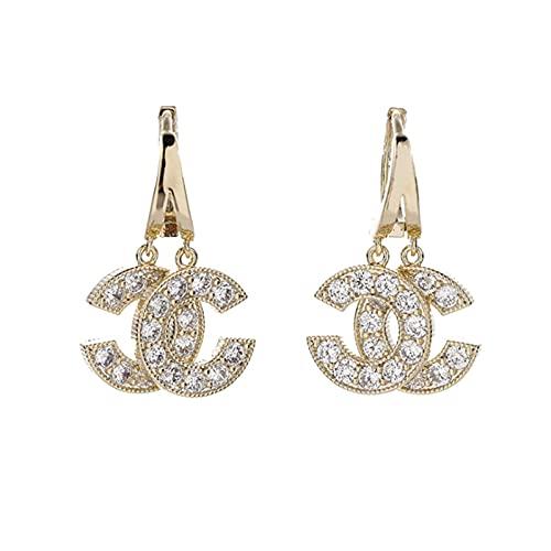 Stsmcl EarrheaファッションダブルCイヤリング小さな香りの風のジルコンイヤリング美しい渦の韓国語版