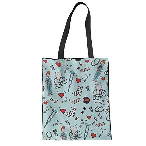 Nopersonality Baumwolltasche Reisetasche für Damen und Herren Stylisch Tasche für Strand Schule Stoffbeutel mit Muster Cartoon Krankenschwester - Blau