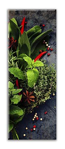 STYLER Küchenbild Red Pepper 30 x 80 x 0,4 cm I Glasbild mit Pfefferkörnern und Gewürzen I Panorama Wandbild mit Chili und Kräutern I Wanddeko Home Kunstdruck I Deko Küche Vintage