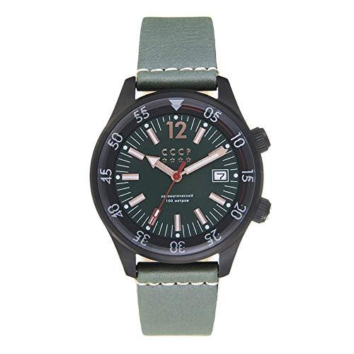 CCCP CP-7043-04 - Orologio meccanico automatico a 3 lancette con quadrante verde e cinturino in vera pelle verde