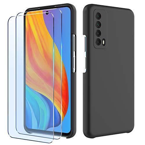 Funda Compatible con Huawei p Smart 2021 y 2 Pack Cristal Templado Transparente Protector Case, Carcasa de Silicona Líquida Suave Antichoque Bumper para Huawei p Smart 2021- Negro