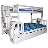 Stairway Twin Over Full Bunk Bed with Drawers White