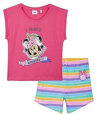 Disney Pijama Niña Corto, Minnie Mouse Pijamas Niña, Ropa Niña Algodon 100%, Pijama Unicornio Niña, Regalos para Niñas y Adolescentes Edad 2-14 Años (Rosa, 7-8 años)
